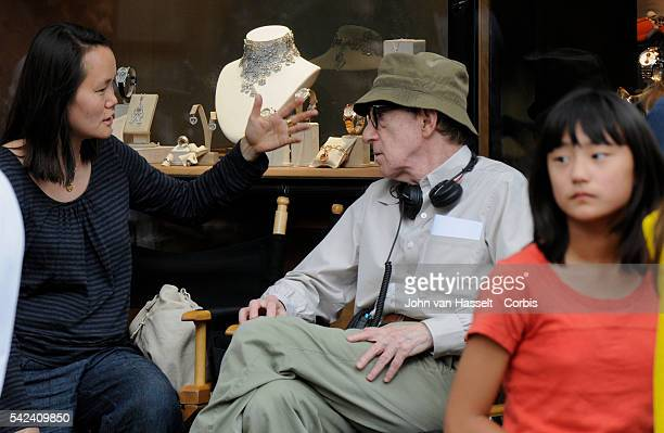 Film director Woody Allen is in Paris filming his new movie Midnight in Paris in front of Chopard the luxury watch and jewelry store near Place...
