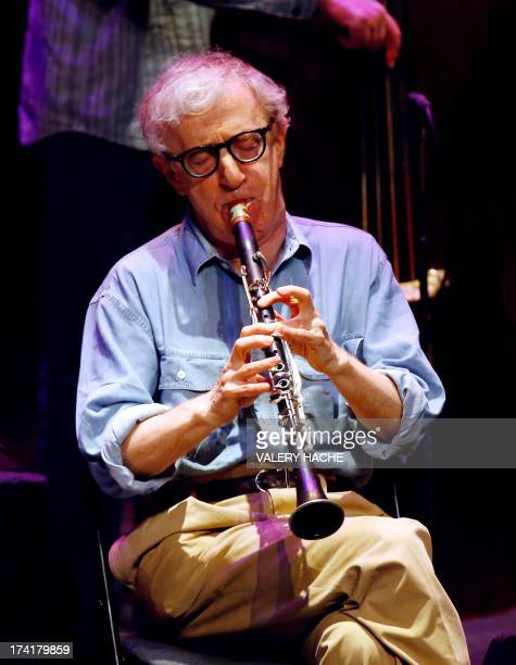 US film director Woody Allen plays clarinet with the New Orleans jazz band on July 21 2013 in Antibes southeastern France AFP PHOTO / VALERY HACHE