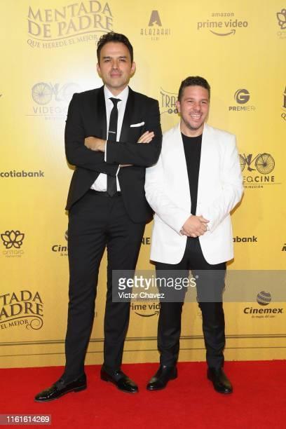 Film directors Fernando Rovzar and Mark Alazraki attend the Mentada de Padre Mexico City premiere red carpet at Cinemax Antara Polanco on August 13...