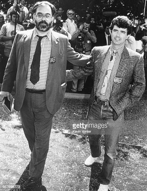Film directors Francis Ford Coppola and George Lucas at the premiere of the movie 'Captain EO' at the Epcot Center at Walt Disney World Los Angeles...