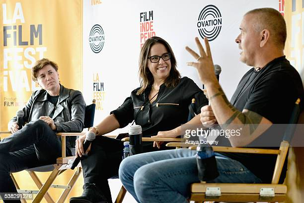 Film directors Kimberly Peirce Patricia Riggen and Tim Miller speak onstage at Coffee Talks Directors during the 2016 Los Angeles Film Festival at...