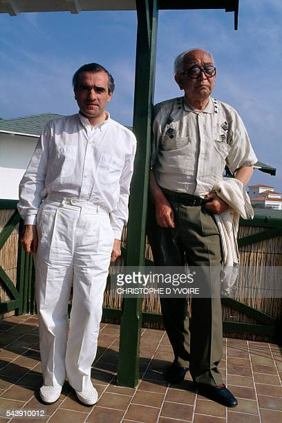 Film directors Martin Scorsese and Akira Kurosawa at the Cannes Film Festival to promote the Kurosawa's film Reves in which director and actor...
