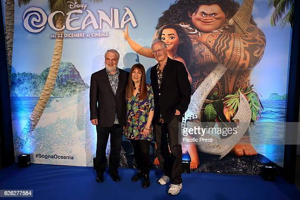 Film Directors Ron Clements John Muske and producer Osnat Shurer during photocall of 'Oceania' new film produced by Walt Disney Animation Studios