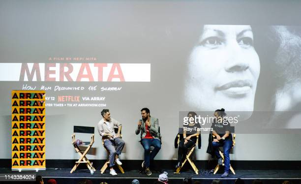 Film directors Taika Waititi Hepi Mita film producers Chelsea Winstanley and Cliff Curtis attend the MERATA How Mum Decolonised the Screen...