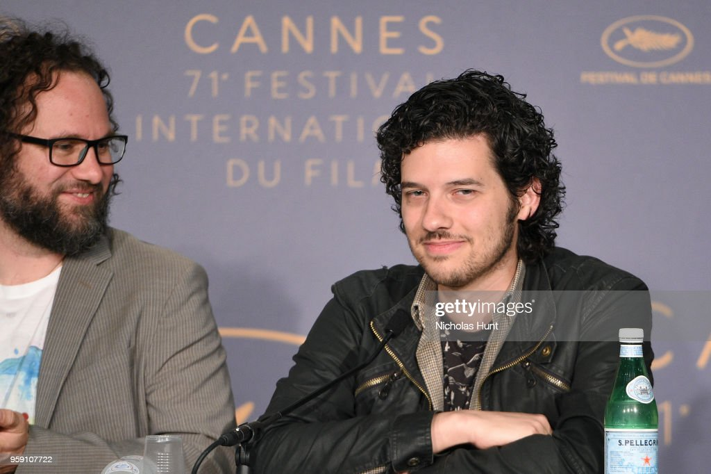 Film editor Julio Perez IV (L) and Rich Vreeland attends 'Under The Silver Lake' Press Conference during the 71st annual Cannes Film Festival at Palais des Festivals on May 16, 2018 in Cannes, France.