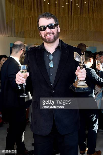 Film editor Tom McArdle with the Best Editing award for 'Spotlight' attends the 2016 Film Independent Spirit Awards private reception on February 27...