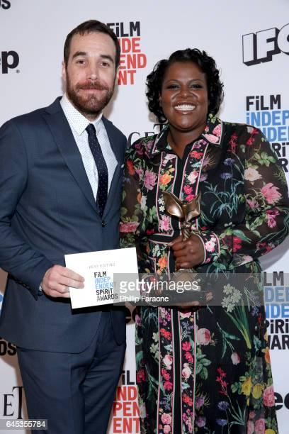 Film editors Nat Sanders and Joi McMillon winners of the Best Editing award for 'Moonlight' pose in the press room during the 2017 Film Independent...