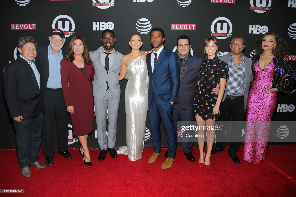 Film executive Donald Tang, producer Johnathen Sanger, producer Paula Wagner (3rd from left) actors Sterling K. Brown, Kate Hudson, Chadwick Boseman, Josh Gad, Ahna O'Reilly, director Reginald Hudlin and singer Andra Day attend the 21st Annual Urbanworld Film Festival at AMC Empire 25 theater on September 23, 2017 in New York City.