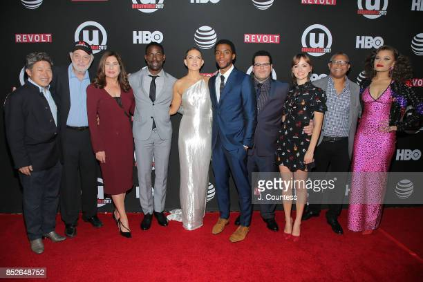 Film executive Donald Tang producer Johnathen Sanger producer Paula Wagner actors Sterling K Brown Kate Hudson Chadwick Boseman Josh Gad Ahna...
