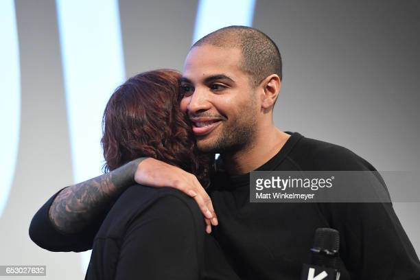 Film Festival Director Janet Pierson and director Elijah Bynum speaks onstage during the 'Hot Summer Nights' premiere 2017 SXSW Conference and...