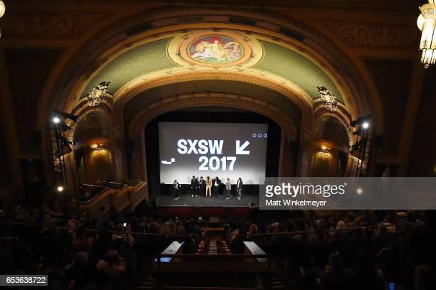 SXSW Film Festival Director Janet Pierson Bob Crawford Scott Avett Seth Avett Joe Kwon of The Avett Brothers producers Judd Apatow and Michael...