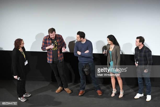 SXSW Film Festival Director Janet Pierson director Joe Swanberg actors Jake Johnson Aislinn Derbez Joe Lo Truglio speak onstage during the 'Win It...