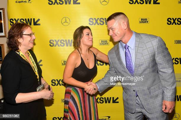 Film Festival Director Janet Pierson Kay Cannon and John Cena attend the 'Blockers' Premiere 2018 SXSW Conference and Festivals at Paramount Theatre...