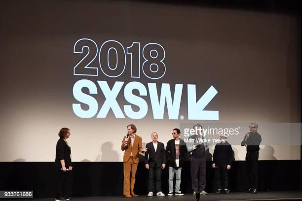 Film Festival Director Janet Pierson Wes Anderson Jeremy Dawson Kunichi Nomura Bill Murray Bob Balaban and Jeff Goldblum attend the 'Isle of Dogs'...