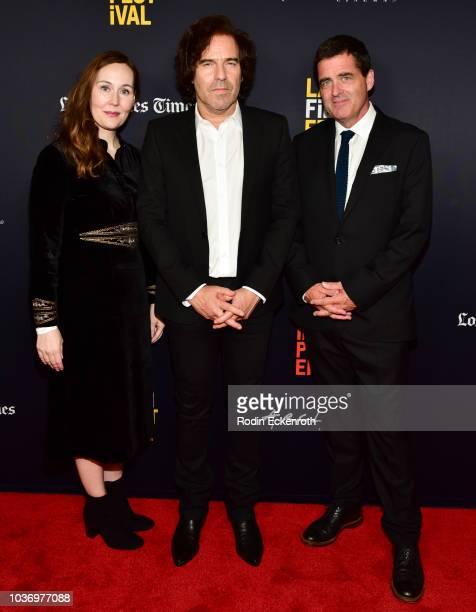 LA Film Festival Director Jennifer Cochis Director Andrew Slater and Film Independent President Josh Welsh attend the 2018 LA Film Festival Opening...