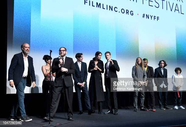 Film Festival Director Kent Jones speaks with director Jonah Hill and cast at the Mid90s Intro and QA during the 56th New York Film Festival at Alice...