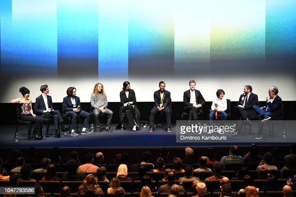 Film Festival Director Kent Jones speaks with director Jonah Hill and cast at the Mid90s at the Intro and QA during the 56th New York Film Festival...
