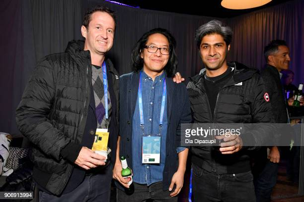 Film Festival Director of Programming Trevor Groth Director Stephen Maing and Hussain Currimbhoy attend the Filmmakers Welcome Reception during the...