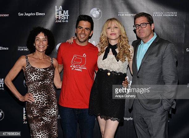 Film Festival Director Stephanie Allain, director Eli Roth, actress/musician Courtney Love and President of Film Independent Josh Welsh attend the...