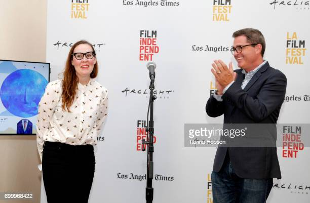 Film Festvial Director Jennifer Cochis and President of Film Independent Josh Welsh speak onstage at the Awards Ceremony during the 2017 Los Angeles...