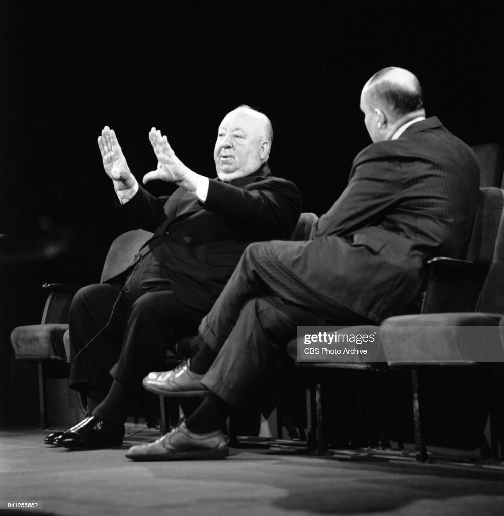 Film historian William K. Everson (right) interviews Film director Alfred Hitchcock (left) for the performing arts television program, 'Camera Three.' Episode: The Illustrated Alfred Hitchcock (part 2) originally broadcast on July 23, 1972. Image dated: June 12, 1972 New York, NY.