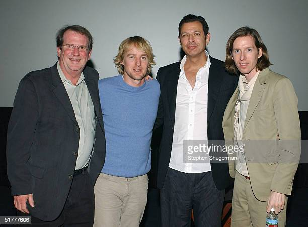 Film Historian/Moderator Pete Hammond, actor Owen Wilson, actor Jeff Goldblum and director Wes Anderson pose following the Q & A at the Variety...