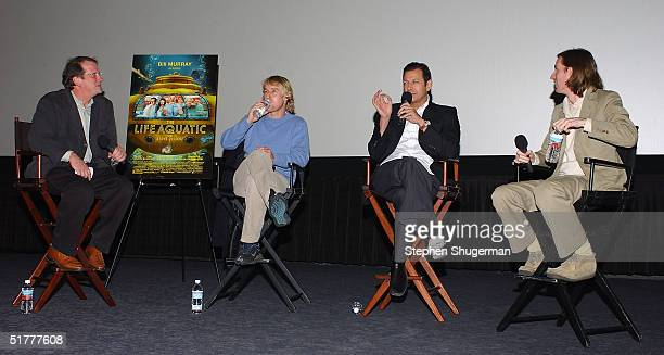 Film Historian/Moderator Pete Hammond, actor Owen Wilson, actor Jeff Goldblum and director Wes Anderson answer questions from the audience during the...