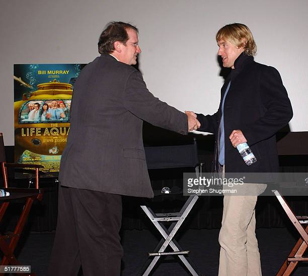 "Film Historian/Moderator Pete Hammond greets actor Owen Wilson prior to the Q & A at the Variety Screening Series - ""The Life Aquatic with Steve..."