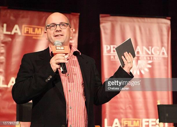 Film Independent Associate Director of Programming speaks onstage at the 2011 Los Angeles Film Festival Green Lantern special screening held at Regal...