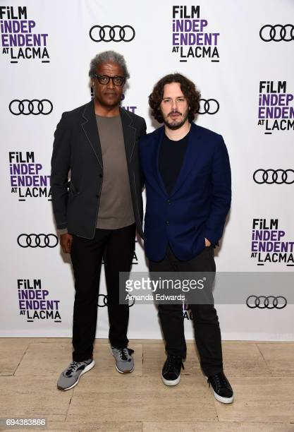 Film Independent at LACMA film curator Elvis Mitchell and director Edgar Wright attend the Film Independent at LACMA Screening Of Baby Driver at the...