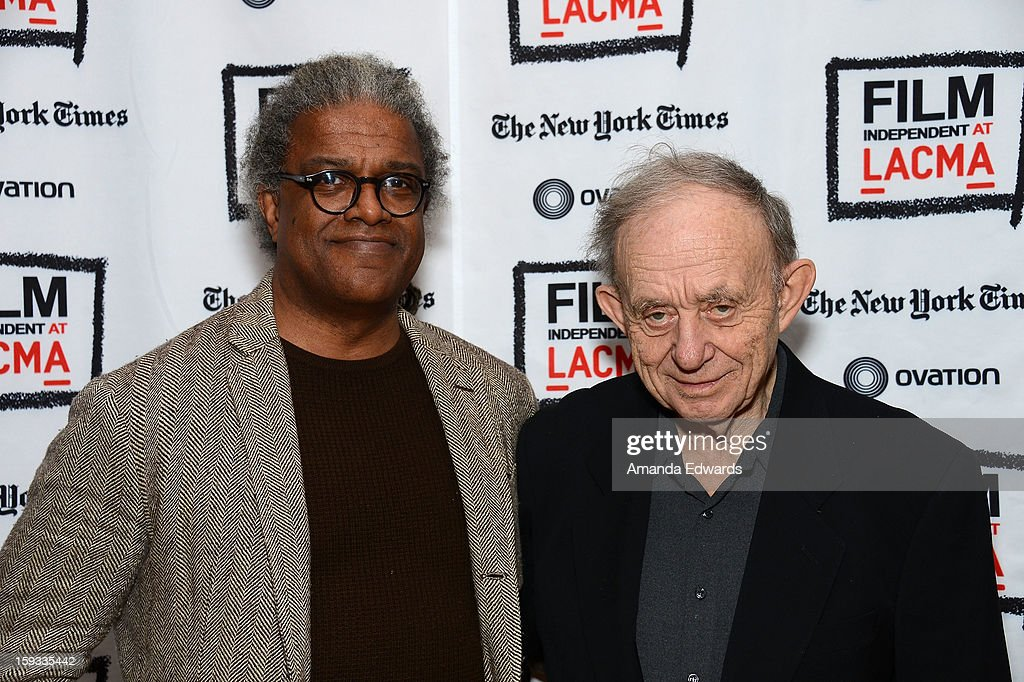 Film Independent at LACMA film curator Elvis Mitchell (L) and filmmaker Frederick Wiseman attend the Film Independent at LACMA - Spotlight on Frederick Wiseman event at Bing Theatre At LACMA on January 11, 2013 in Los Angeles, California.