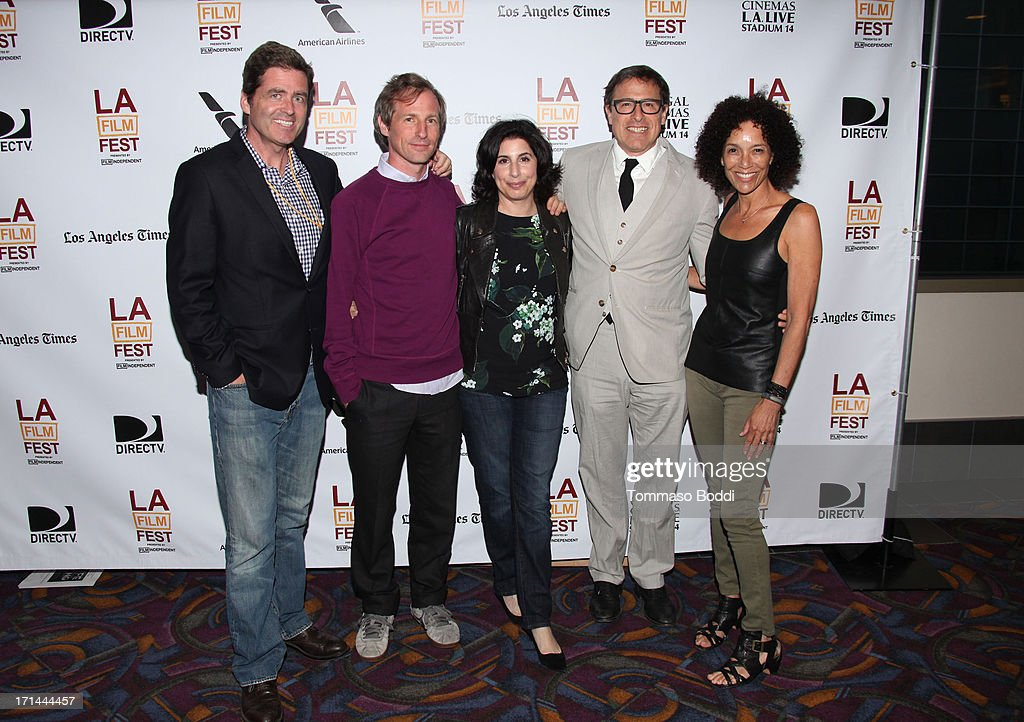 Film Independent co-president Josh Welsh, filmmaker Spike Jonze, President, Worldwide Marketing Warner Bros. Sue Kroll, director David O. Russell, and Los Angeles Film Festival director Stephanie Allain attend the 'Spike Jonze: A Brand Of His Own And His Comb' premiere during the 2013 Los Angeles Film Festival at Regal Cinemas L.A. Live on June 22, 2013 in Los Angeles, California.