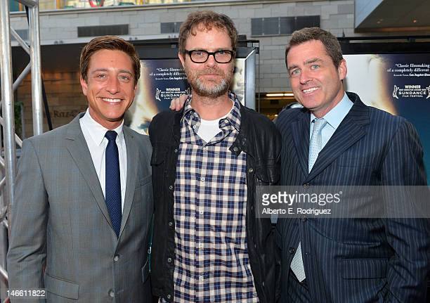 Film Independent copresident Sean McManus actor Rainn Wilson and Film Independent copresident Josh Welsh attend the Middle Of Nowhere premiere during...
