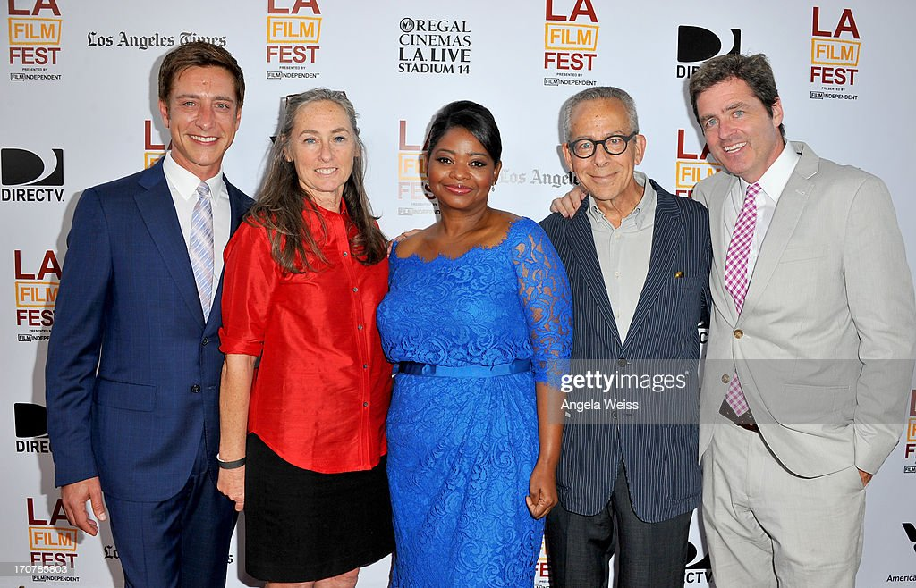 Film Independent co-president Sean McManus, Chair of the board of directors Mary Sweeney, Actress Octavia Spencer, LAFF artistic director David Ansen, and Film Independent co-president Josh Welsh arrive at the premiere of The Weinstein Company's 'Fruitvale Station' during the 2013 Los Angeles Film Festival at Regal Cinemas L.A. Live on June 17, 2013 in Los Angeles, California.