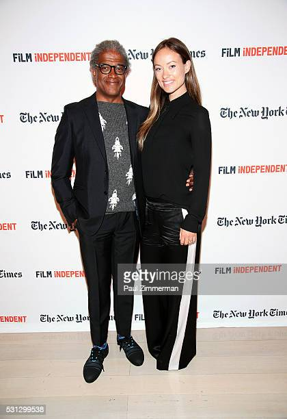 """Film Independent curator Elvis Mitchell and actress Olivia WIlde pose at the Film Independent Presents Live Read Of """"Hannah And Her Sisters"""" at Times..."""