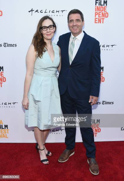 """Film Independent President Josh Welsh and LAFF Director Jennifer Cochis attend the opening night premiere of Focus Features' """"The Book of Henry""""..."""