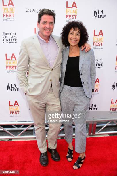 "Film Independent President Josh Welsh and Los Angeles Film Festival director Stephanie Allain attend the premiere of ""Dear White People"" during the..."