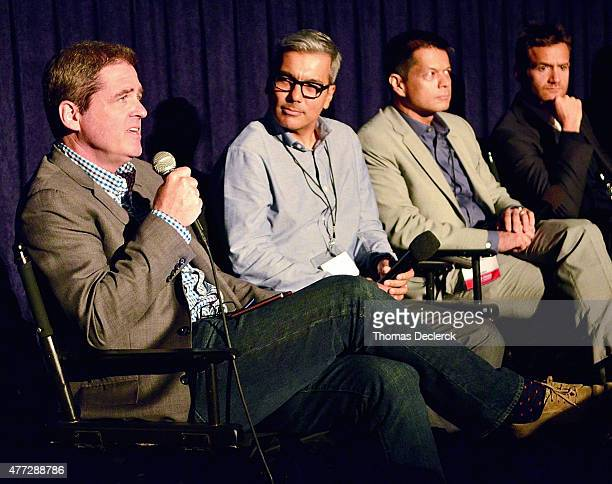Film Independent President Josh Welsh Carlos Islam Ken Payumo and David Raymond of Arise Pictures speak onstage at the UN Panel during the 2015 Los...