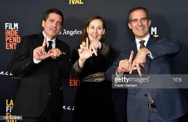 Film Independent President Josh Welsh La Film Festival Director Jennifer Cochis Mayor of Los Angeles Eric Garcetti attend the 2018 LA Film Festival...