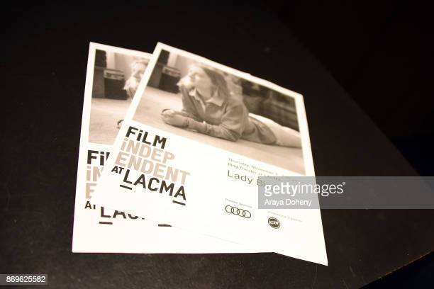 Film Independent signage at the Film Independent at LACMA presents 'Lady Bird' screening and QA at Bing Theater At LACMA on November 2 2017 in Los...