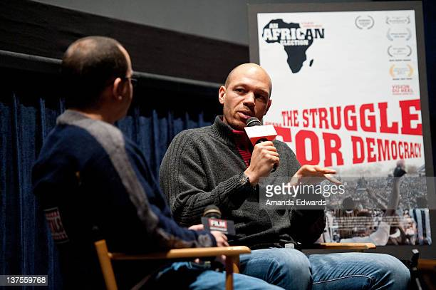 Film Independent's Associate Director of Programming Doug Jones and director Jarreth Merz participate in a QA session following a 2012 Spirit Awards...