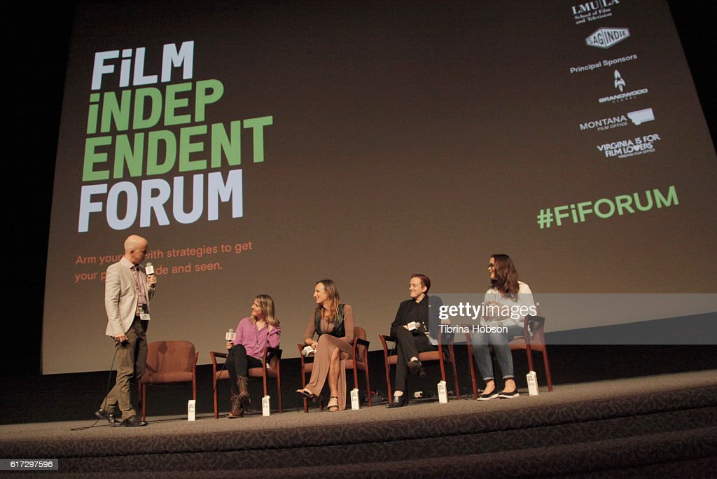 Film Independent's Paul Cowling, actresses/writers Laura Zak and Jen Richards, producer Katherine Fisher and Sylvia Desrochers, President of Big Time PR speak onstage during the 'Her Story: A Web Series Case Study' portion of the Film Independent Forum at the DGA Theater on October 22, 2016 in Los Angeles, California.