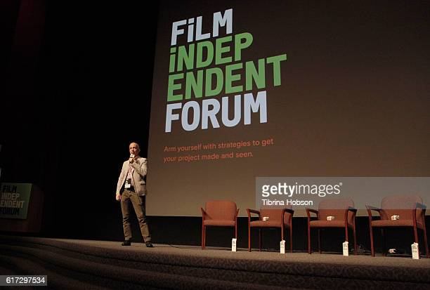 Film Independent's Paul Cowling speaks onstage during the 'Her Story A Web Series Case Study' portion of the Film Independent Forum at the DGA...