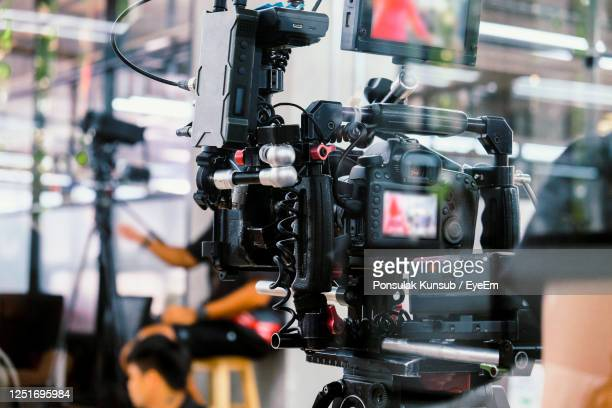 film industry. filming with professional camera background - behind the scenes stock pictures, royalty-free photos & images