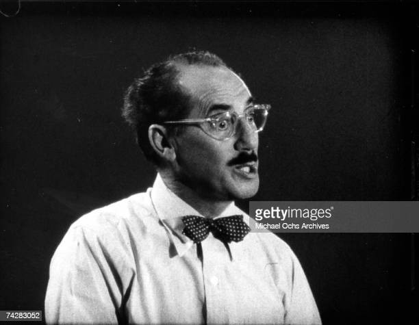 Film legend and later radio and TV game show host Groucho Marx on the set of 'You Bet your Life' circa 1955 in Los Angeles California