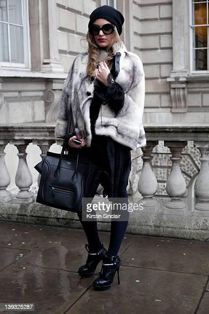 film maker Chloe Montana wearing Givenchy dress Preen shoes Celine bag street style at London fashion week autumn/winter 2012 womenswear shows on...