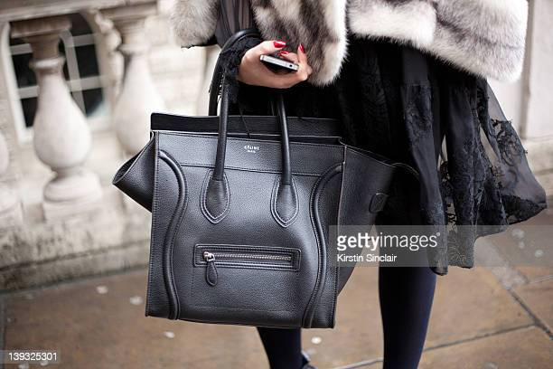 film maker Chloe Montana wearing Givenchy dress Preen shoes Celine bag street style at London fashion week autumn/winter 2012 womenswear shows on...