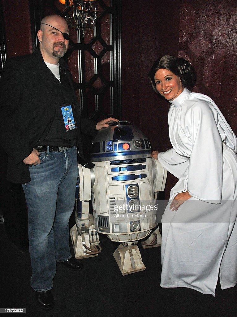 Film maker Eliot Sirota and cosplayer Natalie Atkins as Princess Leia attend The 1st Annual Geekie Awards held at Avalon on August 18, 2013 in Hollywood, California.
