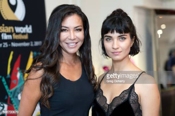 Film maker Gia Noortas and Actress Tuba Buyukustun attend a reception as Angelina Jolie Accepts the Rising Star Award on behalf of 'First They Killed...