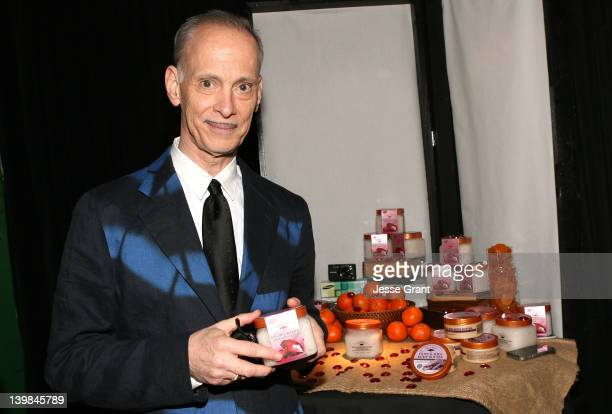 Film maker John Waters poses with Tree Hut scrub in the Official Presenter Gift Lounge at the 2012 Film Independent Spirit Awards at Santa Monica...